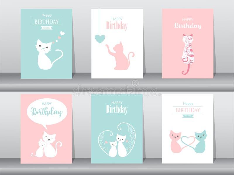 Комплект поздравительых открыток ко дню рождения бесплатная иллюстрация