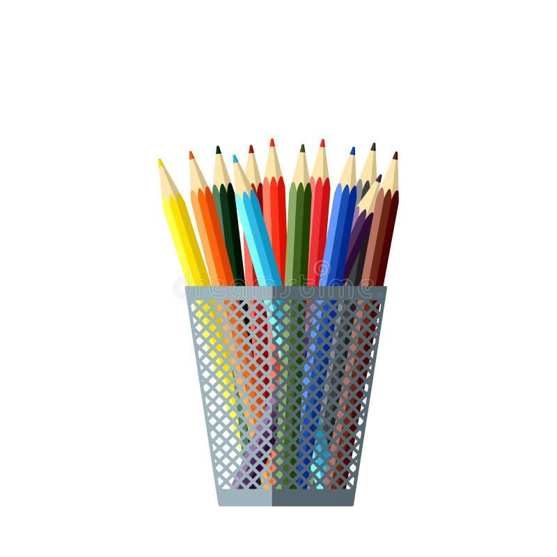 Комплект 12 покрасил карандаши в стекле стоковое изображение