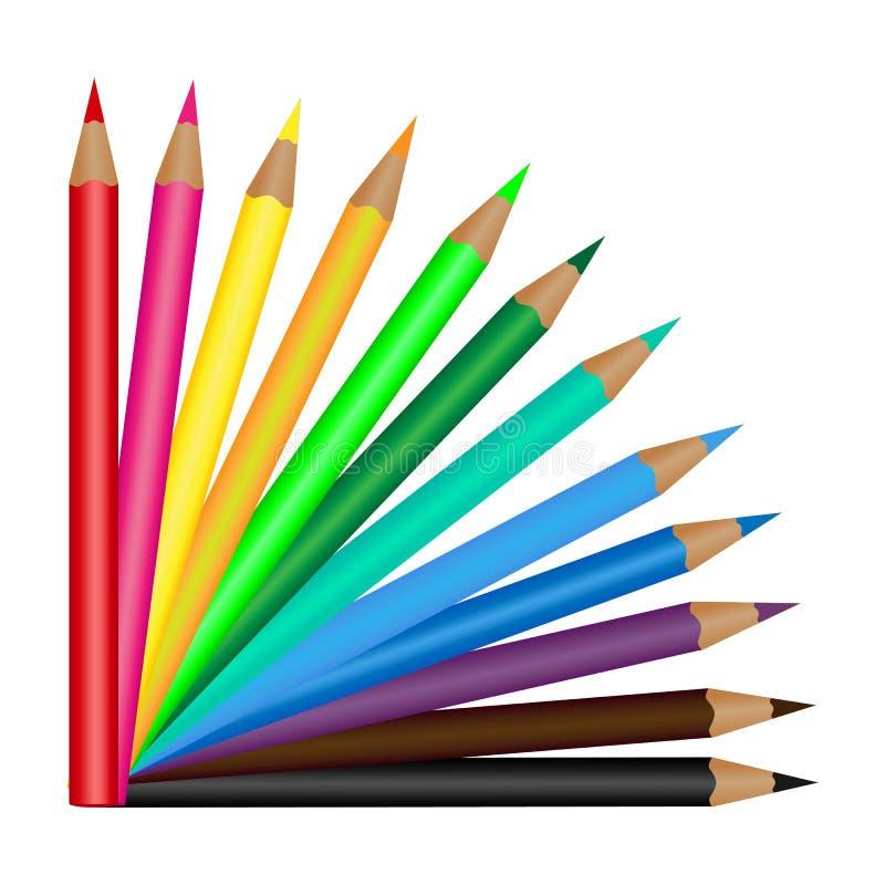 Комплект 12 покрасил карандаши изолированный на белой предпосылке также вектор иллюстрации притяжки corel иллюстрация вектора