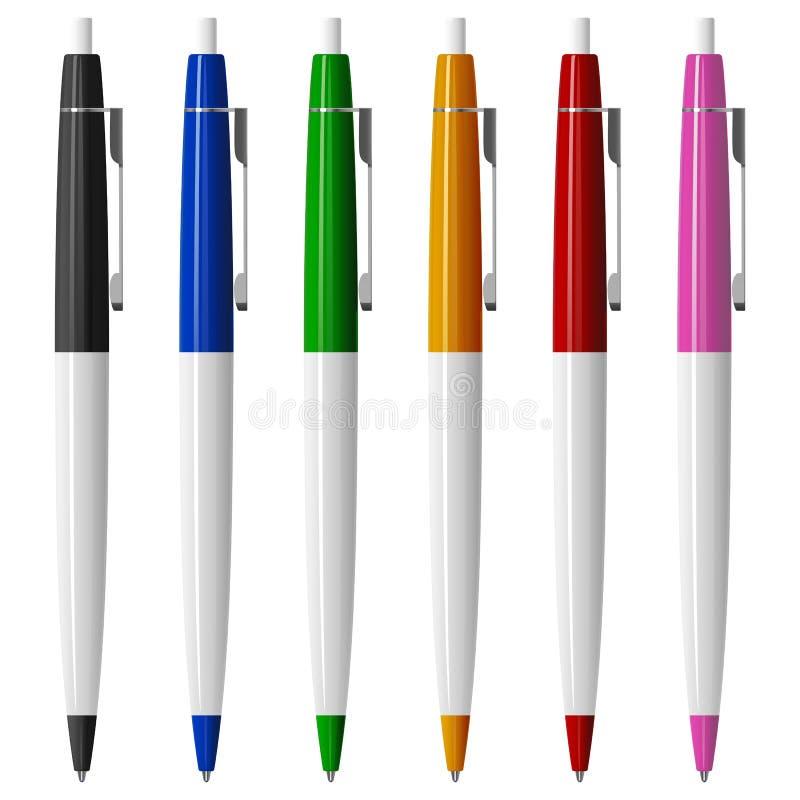 Комплект 6 покрасил ручки шариковой авторучки с кнопками и металлом иллюстрация штока