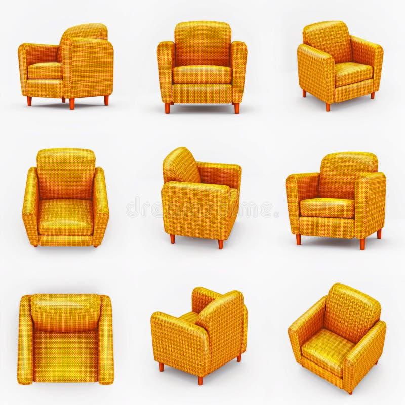 Комплект покрашенных желтых кресел на белой предпосылке иллюстрация вектора