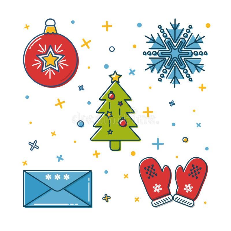 Комплект покрашенных значков рождества в тонкой линии стиле иллюстрация вектора