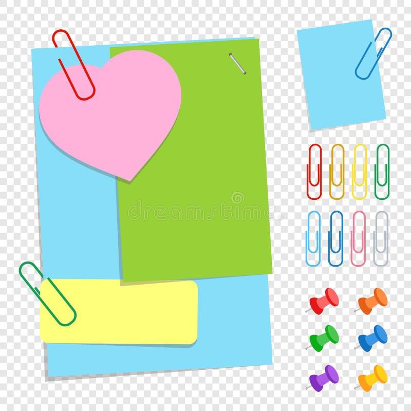 Комплект покрашенных листов офиса липких различных форм, кнопок и зажимов Простая плоская иллюстрация вектора изолированная на tr бесплатная иллюстрация