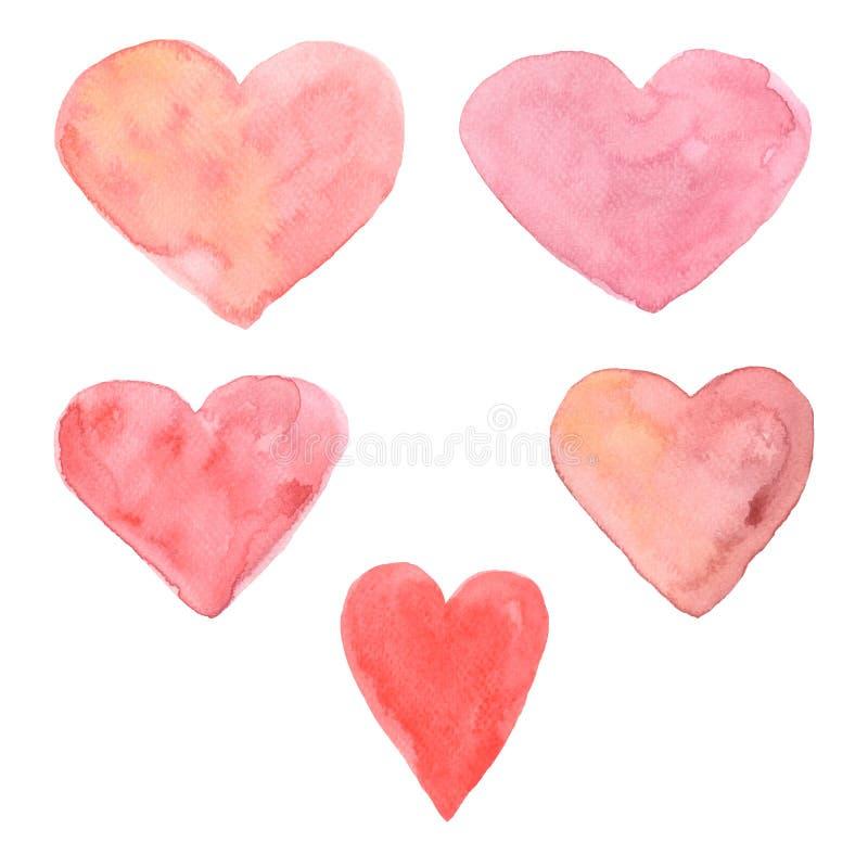 Комплект покрашенных рукой сердец акварели различные тени чувствительных розовых изолированных объектов идеальных для карты дня В иллюстрация штока