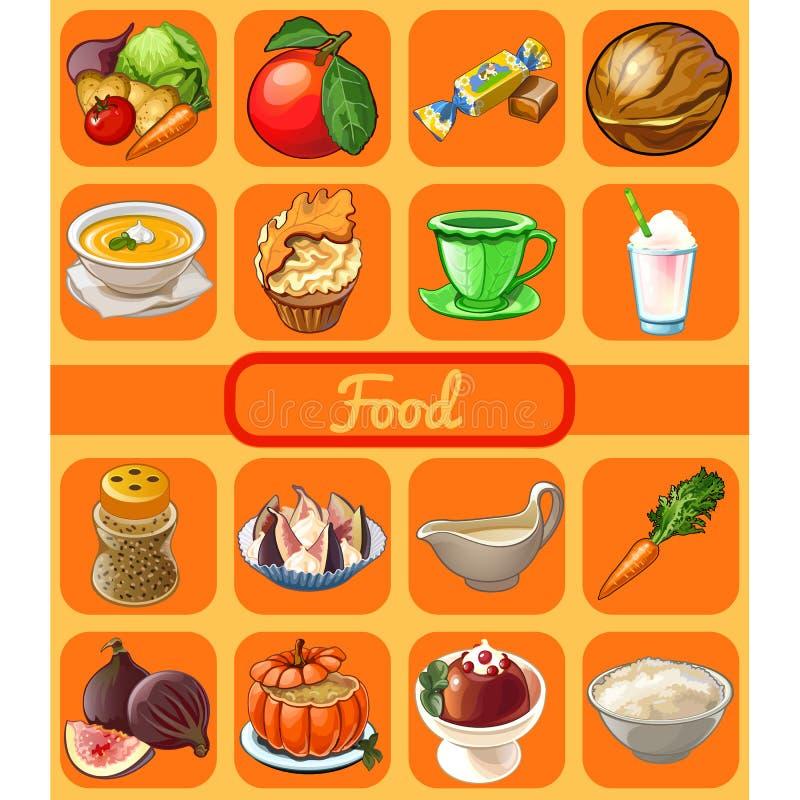 Комплект полезной органической естественной еды Атрибут здорового меню фитнеса еды Эскиз для стикера праздника, знамени, карточки иллюстрация штока