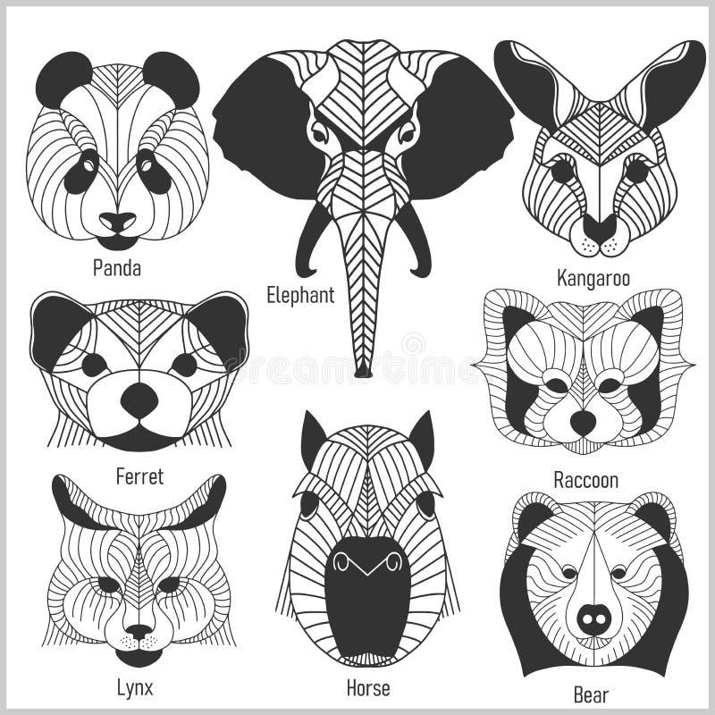 Комплект полигональных головных животных Полигональные логотипы Геометрический комплект панды, слона, кенгуру, фретки, енота, рыс иллюстрация штока