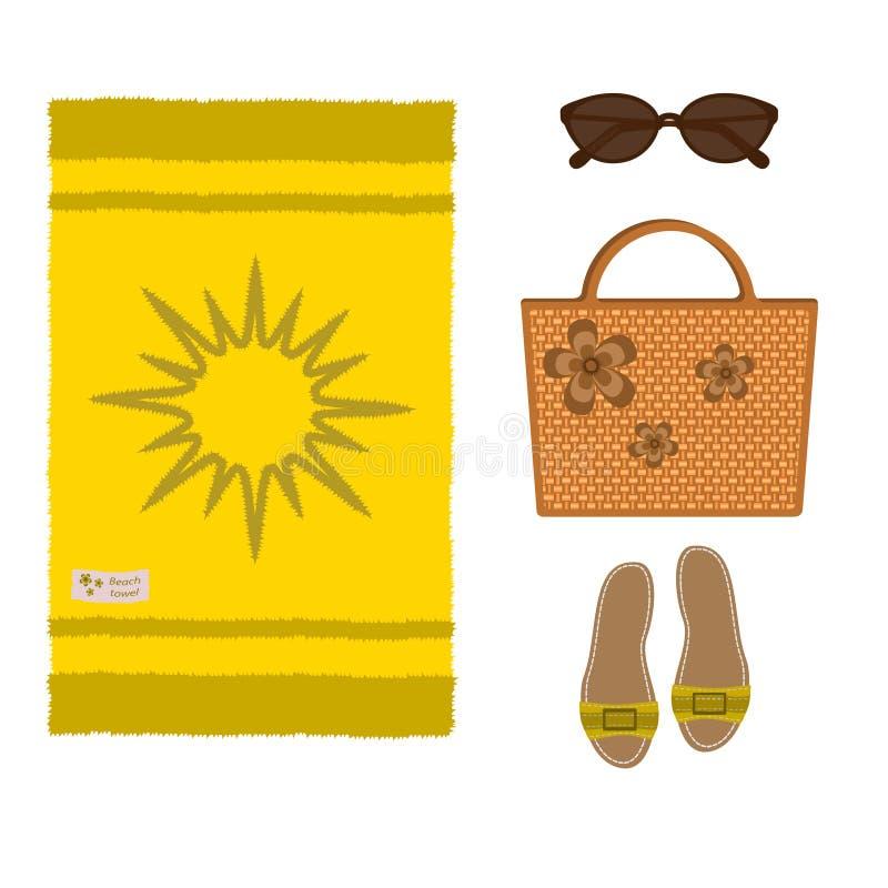 Комплект полотенца желтого цвета пляжа, плетеной сумки, сандалий и солнечных очков, изолированных на белой предпосылке иллюстрация вектора