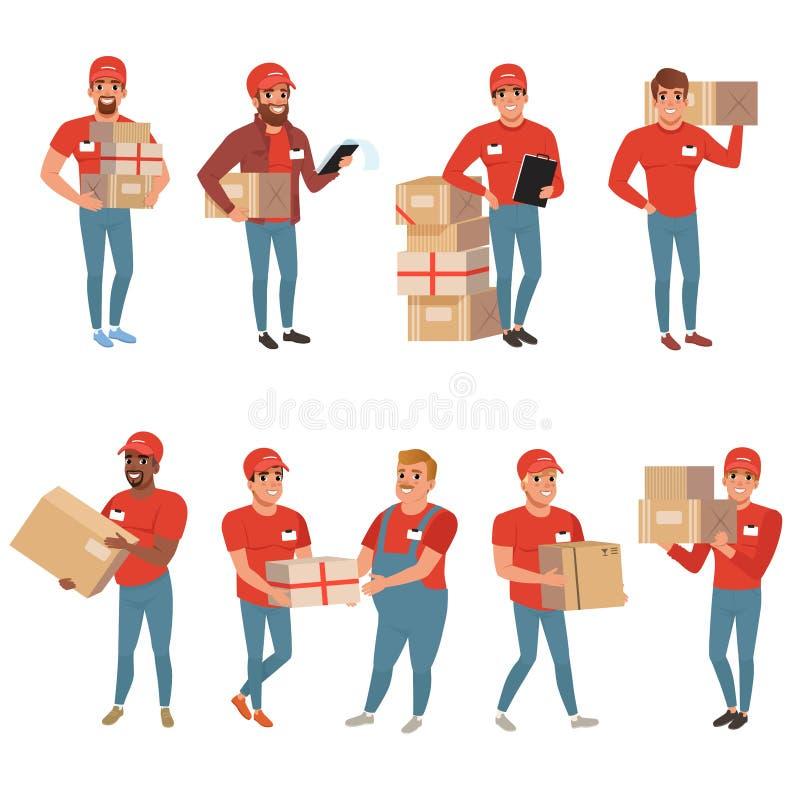 Комплект почтовых работников в различных представлениях Курьер или обслуживание поставки Характеры людей с коробками пакетов паке иллюстрация штока