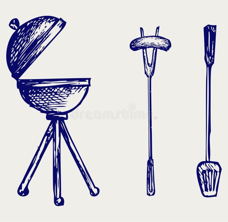 Комплект предметов bbq иллюстрация штока