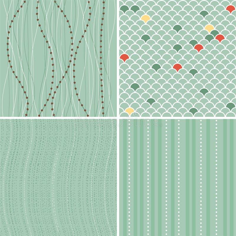 комплект предпосылок голубой ретро безшовный иллюстрация вектора