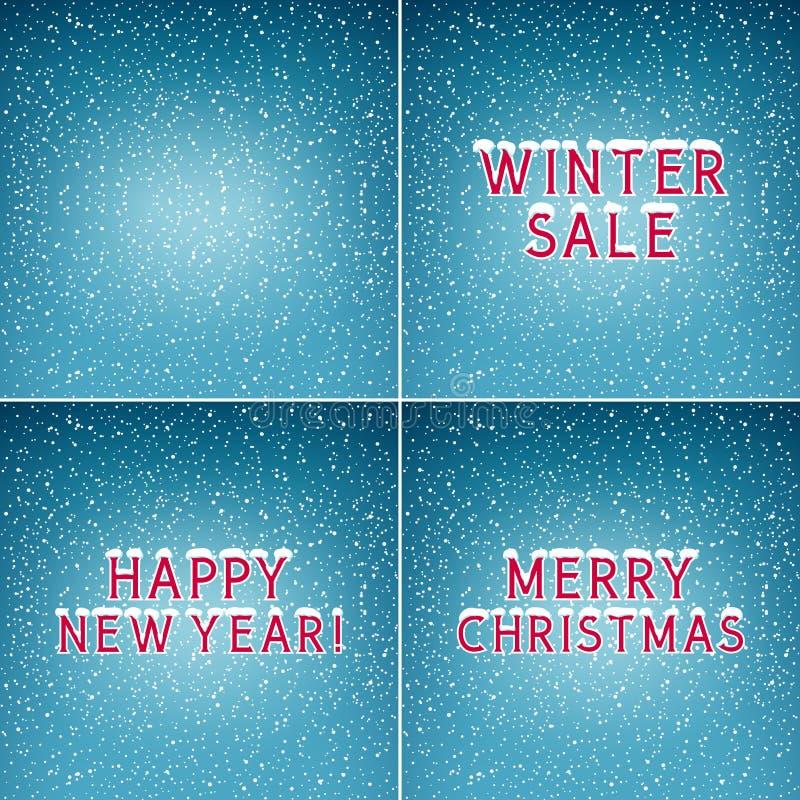 Комплект предпосылок зимы праздника иллюстрация вектора