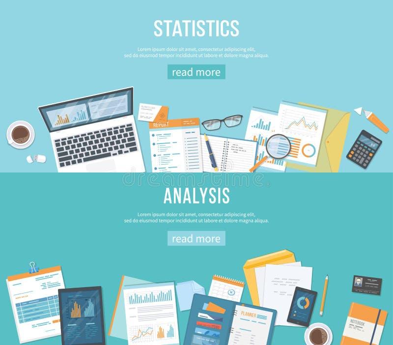Комплект предпосылок знамен для дела и финансов Статистик, анализ Документы, графики, папки иллюстрация вектора