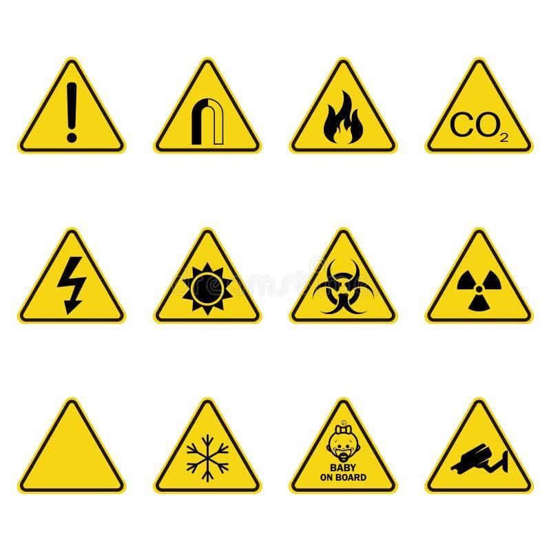 Комплект предупредительных знаков треугольника Предупреждающий значок roadsign знак Опасност-предупреждени-внимания Желтая предпо иллюстрация штока