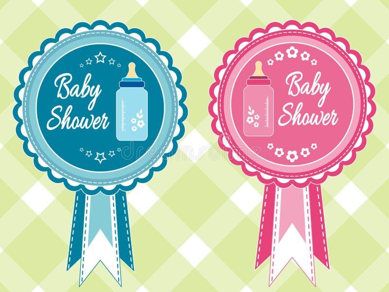 Комплект прибытия ребёнка и девушки, ливня, приветствия, карточки объявления с бутылкой молока Иллюстрация стикера вектора, откры иллюстрация штока