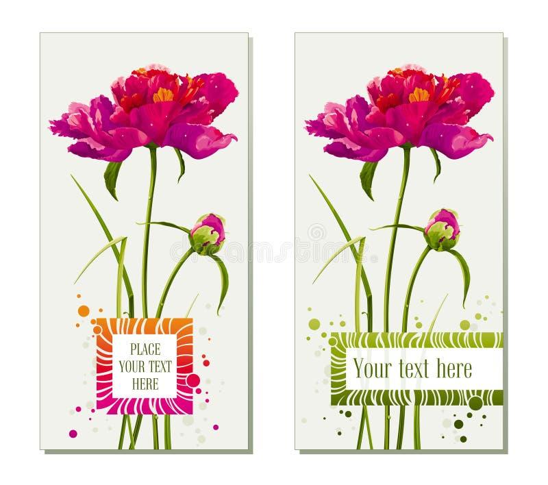 комплект приветствию цветка карточек иллюстрация вектора