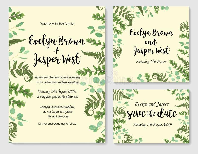 Комплект приглашения свадьбы вектора, поздравительной открытки, даты спасения Fram иллюстрация вектора