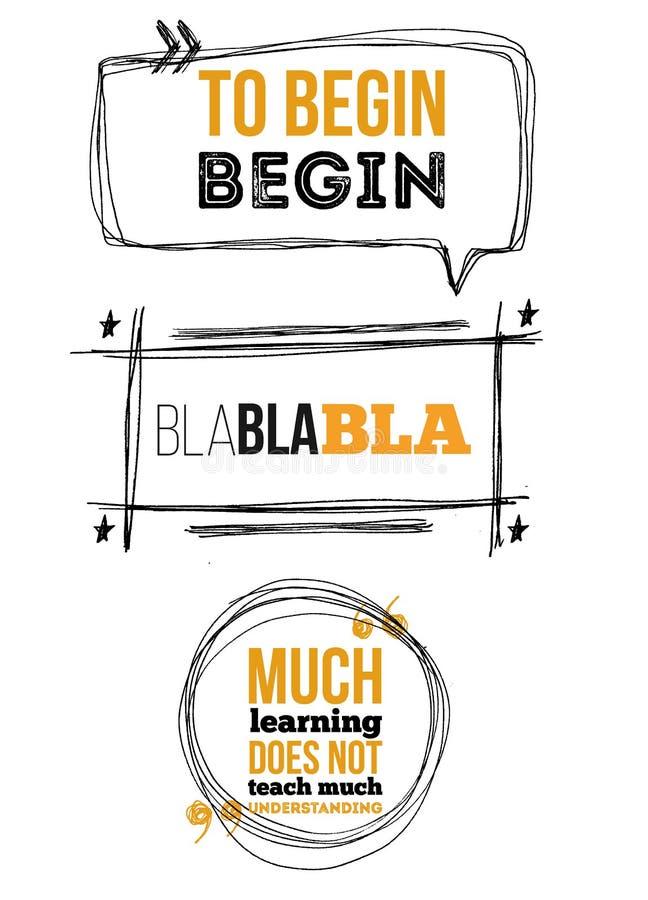 Комплект примечания эскиза клокочет для citates на белой предпосылке с цитатами Цитата шаблонов с текстом для заявлений или иллюстрация штока