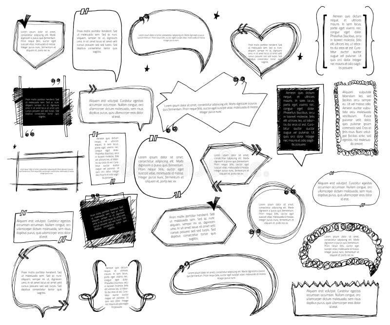 Комплект примечания эскиза клокочет для citates на белой предпосылке Шаблоны закавычат с текстом для заявлений или комментариев иллюстрация штока
