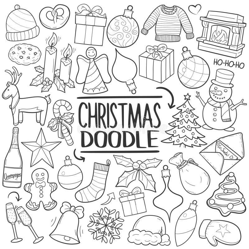 Комплект притяжки руки значка doodle семьи рождественской вечеринки традиционный иллюстрация штока