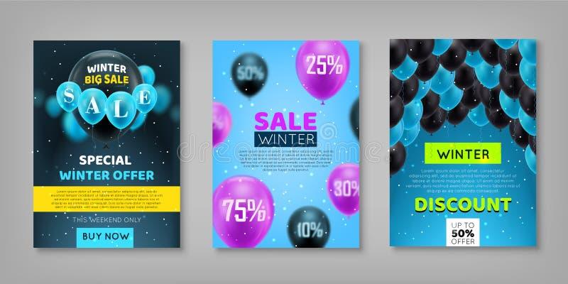 Комплект продажи зимы иллюстрация вектора