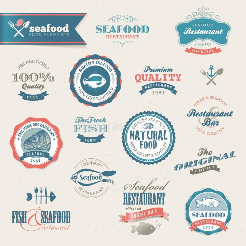 комплект продуктов моря ярлыков элементов иллюстрация штока