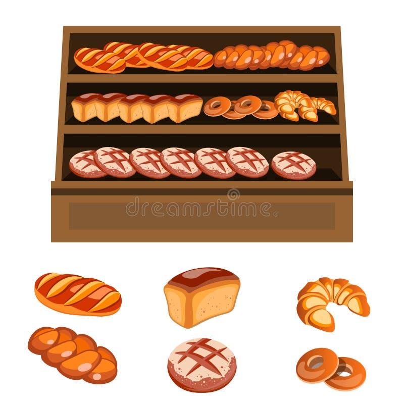 Комплект продуктов хлебопекарни на деревянных полках бесплатная иллюстрация