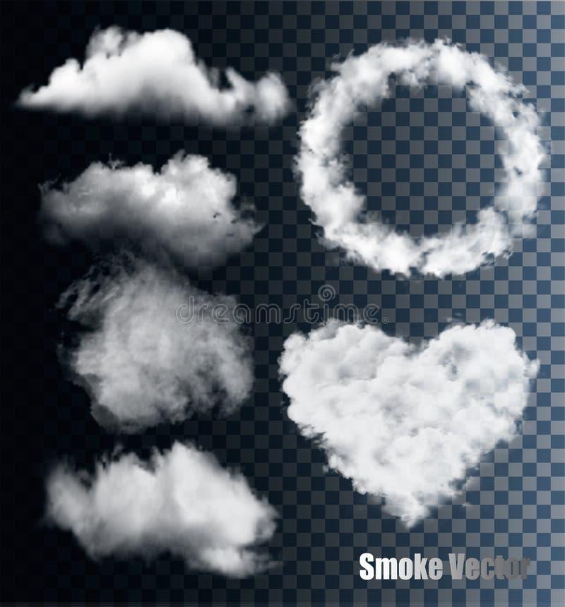 Комплект прозрачных различных дыма и облака иллюстрация вектора