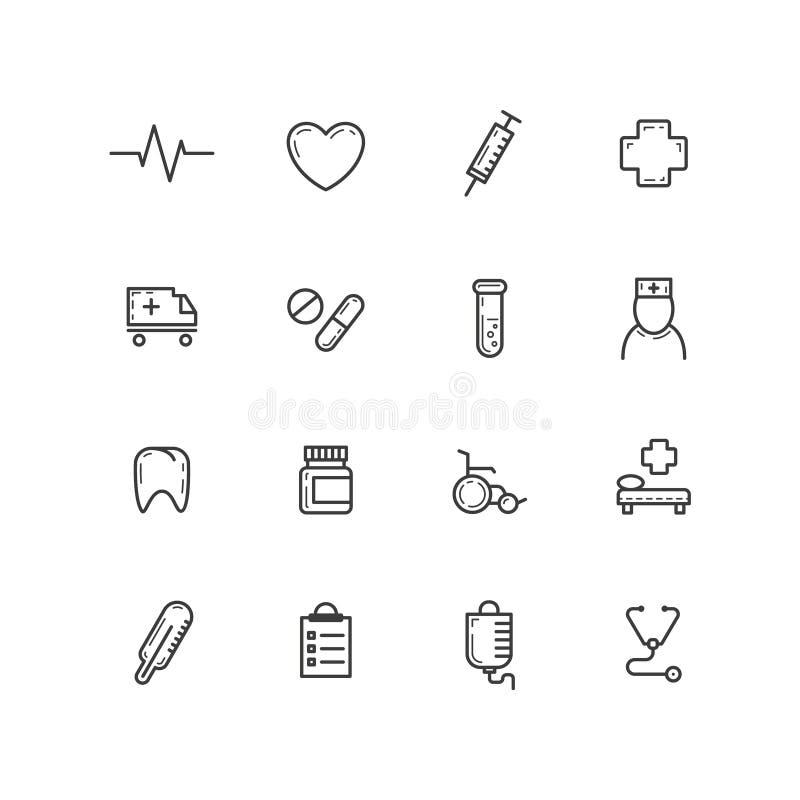Комплект простой линии значков плана вектора здоровья сотрудник военно-медицинской службы искусства иллюстрация штока
