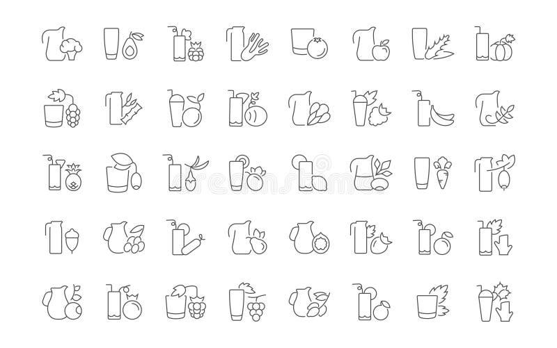 Комплект простых значков соков иллюстрация штока