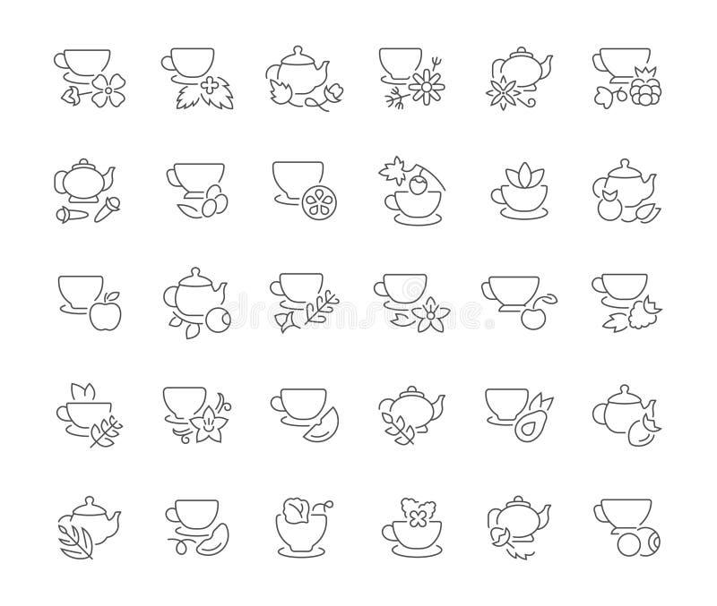 Комплект простых значков чая иллюстрация штока