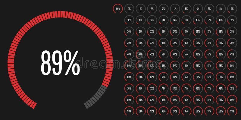 Комплект процента кругового участка diagrams от 0 к 100 иллюстрация вектора