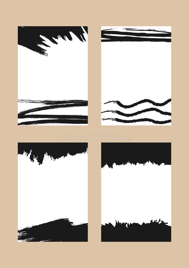 Комплект прямоугольных вертикальных предпосылок с ходами щетки иллюстрация штока