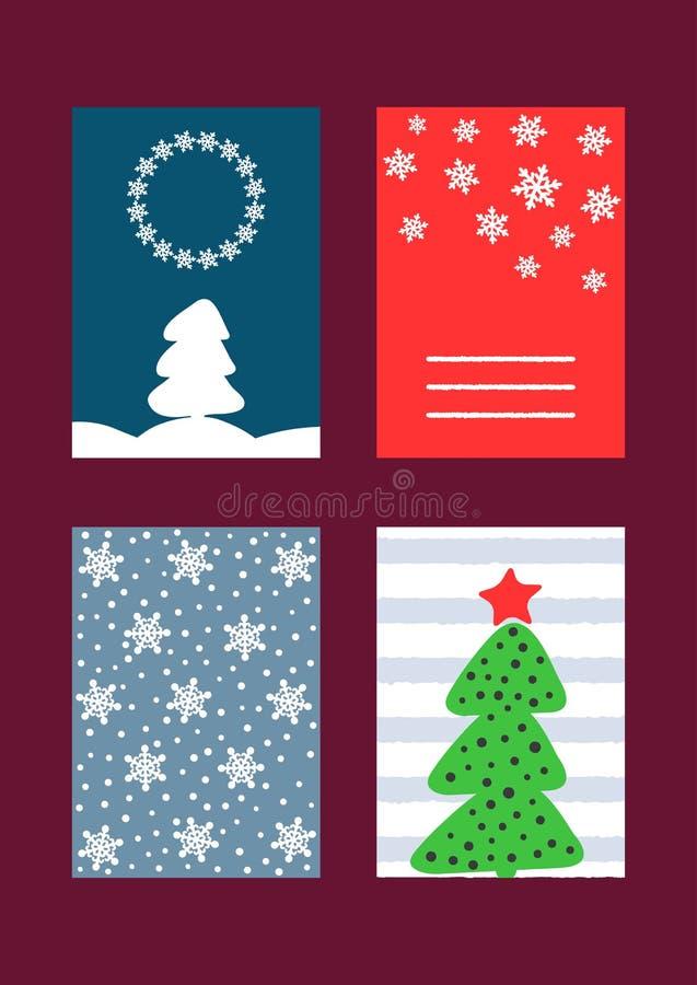 Комплект прямоугольных вертикальных шаблонов для дизайна карточек ` s Нового Года, рогулек, предпосылок, крышек, плакатов, знамен иллюстрация штока