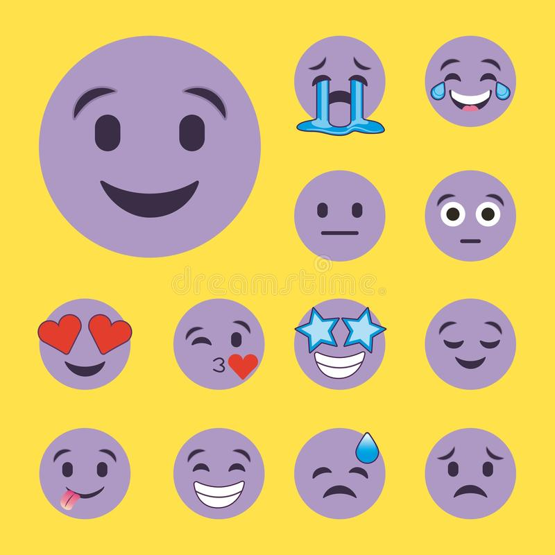 Комплект пурпура усмехается стороны персонажа из мультфильма emoji иллюстрация штока