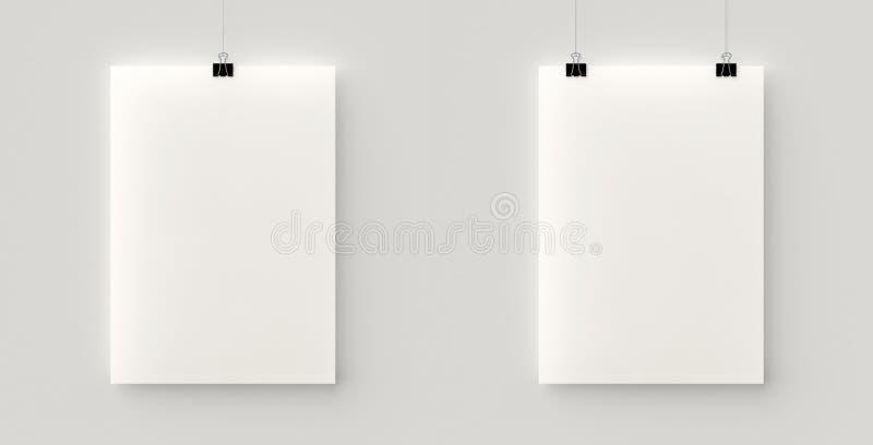 Комплект 2 пустых плакатов вися на потоке с черными зажимами иллюстрация штока