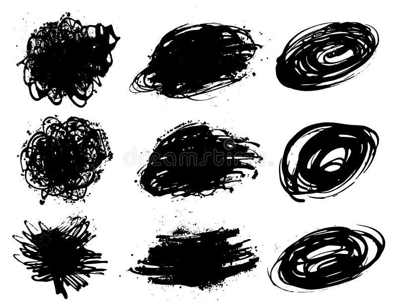 Комплект пятен краски покрасьте выплеск Пятна покрашенные рукой абстрактные формы изолировано вектор бесплатная иллюстрация
