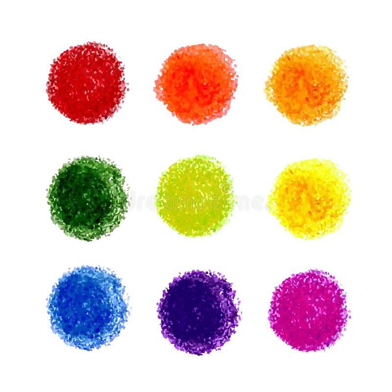 Комплект пятна текстуры scribble crayon изолированного на белой предпосылке иллюстрация вектора