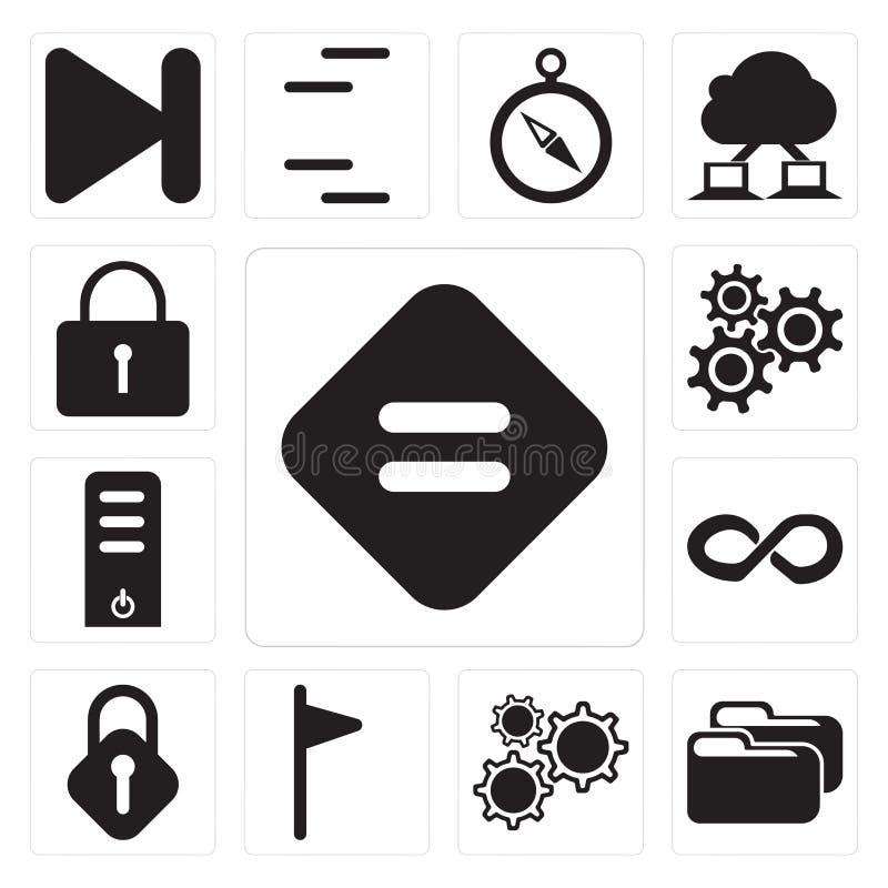Комплект равного, папки, установок, флага, замка, безграничности, сервера, Lo иллюстрация вектора