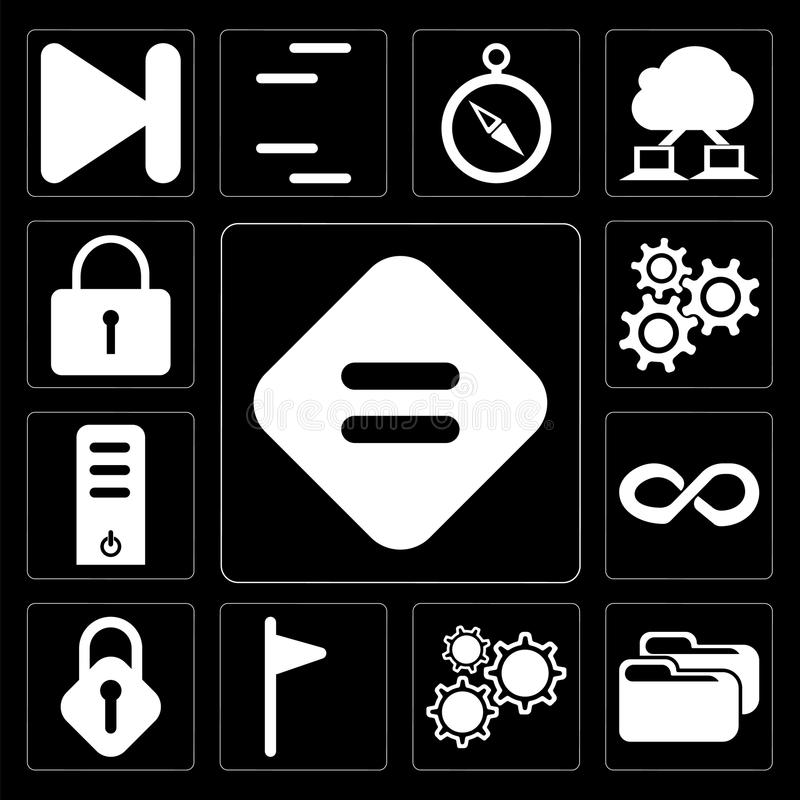Комплект равного, папки, установок, флага, замка, безграничности, сервера, Lo иллюстрация штока