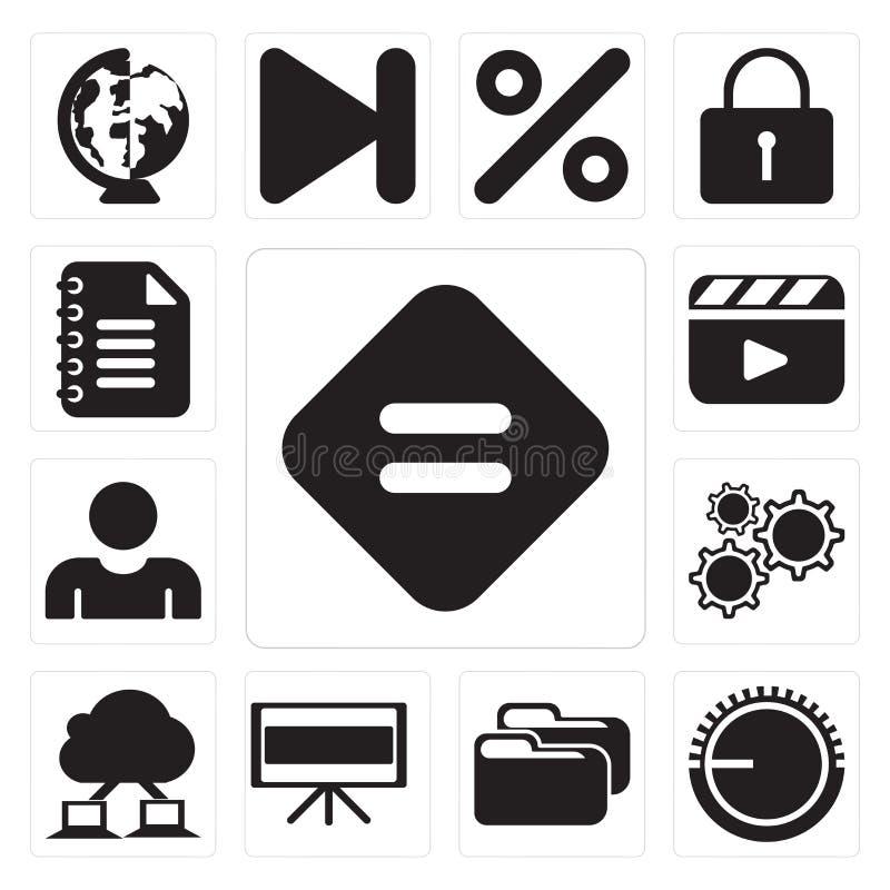 Комплект равного, регулятора звука, папки, телевидения, computin облака иллюстрация штока