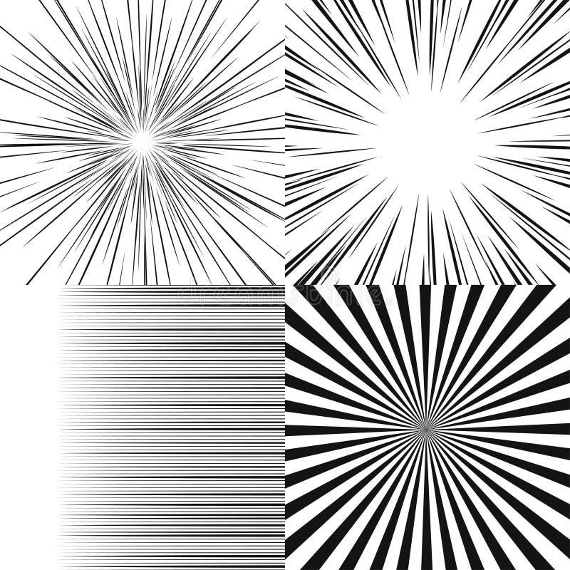 Комплект радиальных лучей иллюстрация вектора
