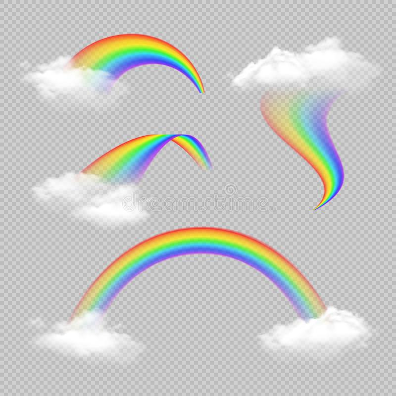 Комплект радуги прозрачный реалистический иллюстрация вектора