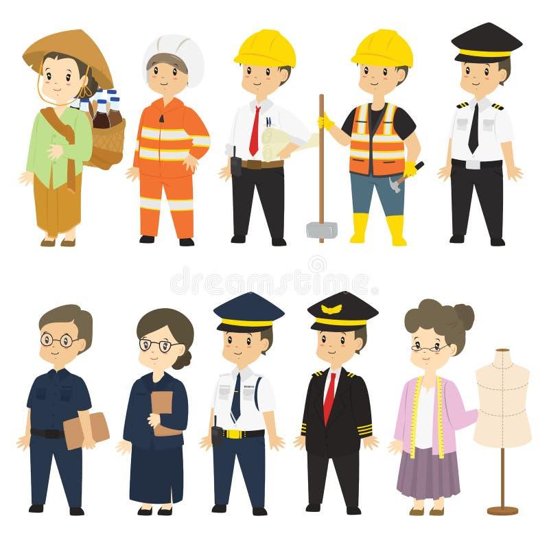 Комплект различного вектора шаржа характеров профессий иллюстрация вектора
