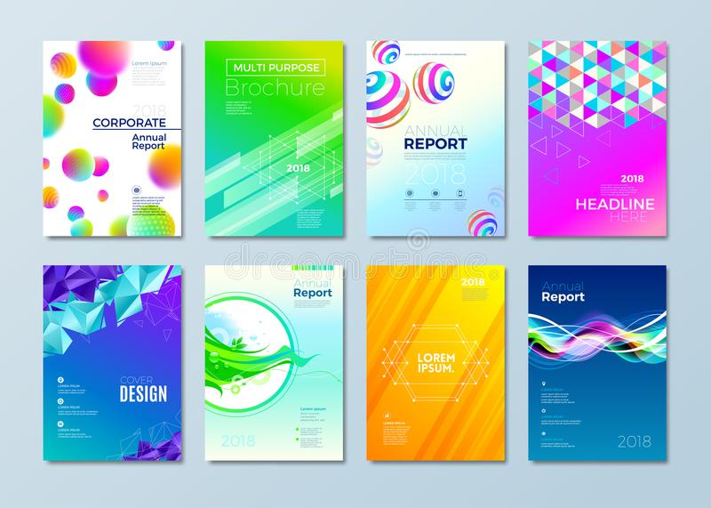 Комплект различного шаблона дизайна стиля для крышки, кассет, брошюры, рогульки, annuar идентичности отчета, корпоративных или де иллюстрация штока