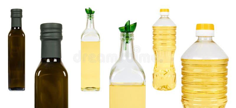 комплект различной зеленой бутылки оливки и подсолнечного масла изолированных на белой предпосылке стоковая фотография