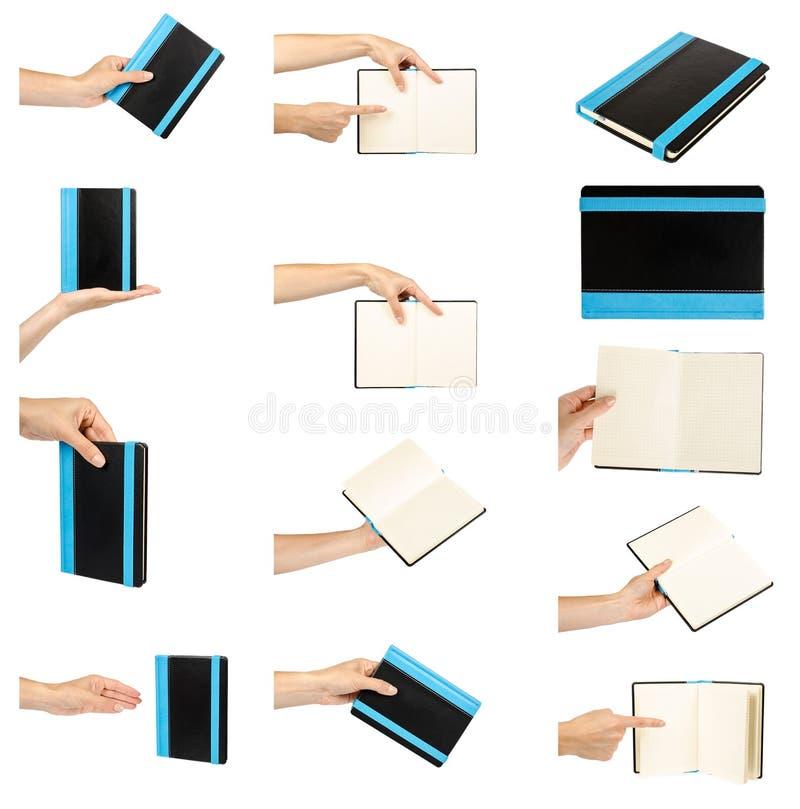 комплект различной раскрытой и закрытой черной тетради с рукой, изолированный на белой предпосылке стоковое изображение rf