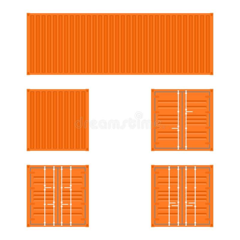 Комплект различных взглядов оранжевых контейнеров грузового транспорта для транспорта и доставки снабжения на белой предпосылке иллюстрация вектора