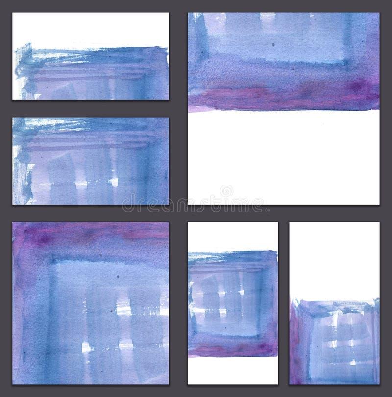Комплект различных визитных карточек, шаблонов cutaways - градиента Minimalistic голубого и фиолетового с текстурой щетки иллюстрация вектора