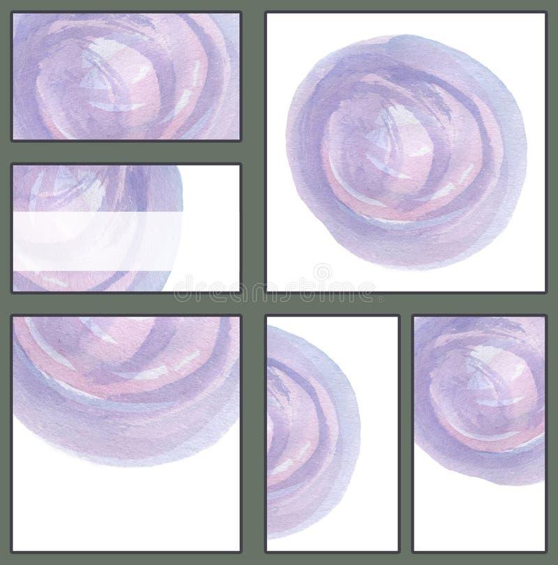 Комплект различных визитных карточек, шаблонов cutaways - чувствительная рука акварели покрасила круг в голубой и фиолетовой гамм бесплатная иллюстрация