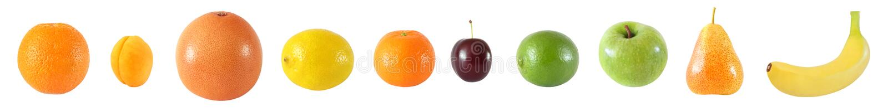 Комплект 10 различных всех плодоовощей Грейпфрут цитруса, апельсин, стоковое фото rf